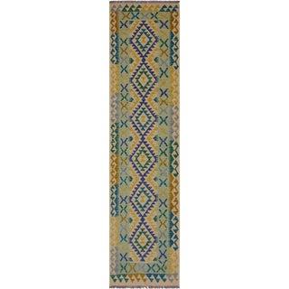 Bohemian Annamari Beige/Blue Hand-Woven Kilim Wool Runner - 2'8 X 9'6 For Sale