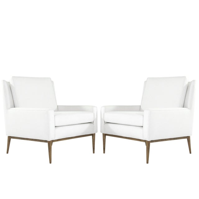 1950s Paul McCobb for Directional Linen Upholstered Lounge Chairs - a Pair For Sale