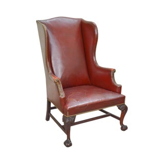 Chippendale Style Eagle Carved Claw Foot Leather Wing Chair