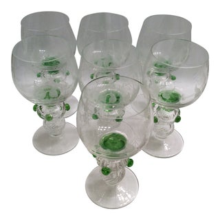 1940s Vintage Venetian Sherry Cordial Hand Blown Etched Glasses- Set of 7 For Sale
