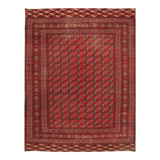 Red Hand Knotted Bokhra Rug For Sale