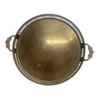 Vintage Round Brass Monogrammed Tray With Floral Handles For Sale