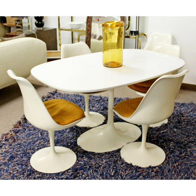 Metal Mid Century Modern Saarinen Style Rectangular White Tulip Dining Table For Sale - Image 7 of 8
