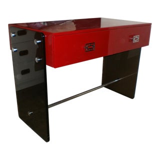 Mod Chinoiserie 70's Red Lacquer Lucite Chrome Desk For Sale