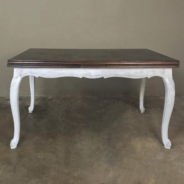 Country Antique Country French Draw Leaf Painted/Stained Dining Table For Sale - Image 3 of 12