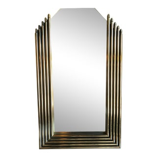1930s French Art Deco Brass Wall Mirror For Sale