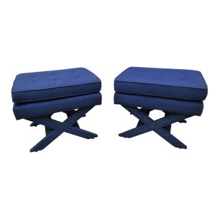 Blue Denim Upholstered X Base Benches - A Pair