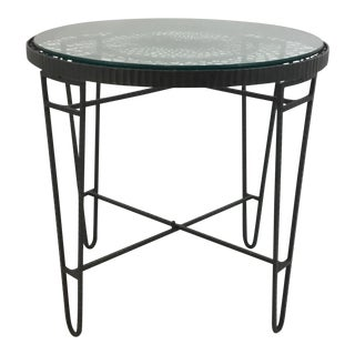 Industrial Modern Iron/Wire/Glass Round Side Table For Sale