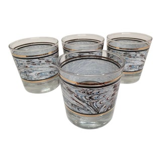 Vintage Anchor Hocking Black White & Gold Rocks Glasses - Set of 4 For Sale
