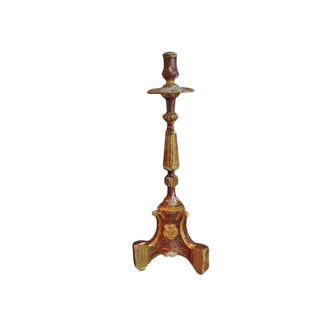 19th century Italian painted candlestick