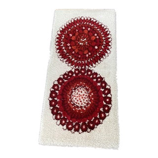 1970s Mid Century Pop Art Red Rya Rug-2′4″ × 4′11″ For Sale