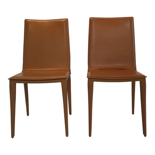 Modern Design Within Reach Leather Bottega Dining Side Chairs- A Pair For Sale
