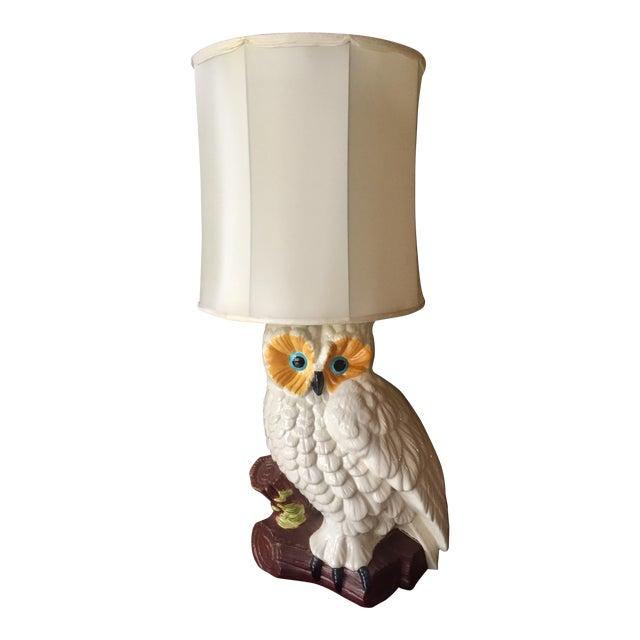 White Ceramic Owl Lamp - Image 1 of 4