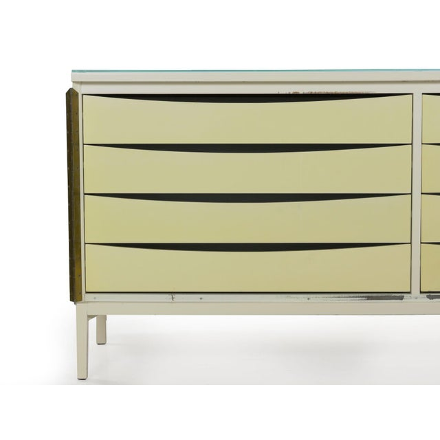 Vintage Modern White Lacquer Cabinet Credenza With Eight Drawers Circa 1980s For Sale - Image 9 of 13
