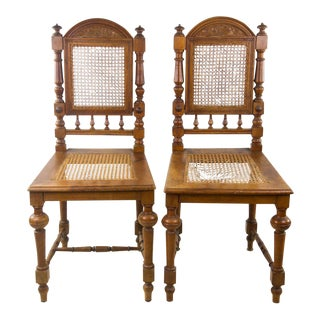Antique English Cane Seat Side Chairs - a Pair