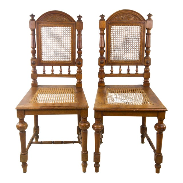 Antique English Cane Seat Side Chairs - a Pair - Antique English Cane Seat Side Chairs - A Pair Chairish