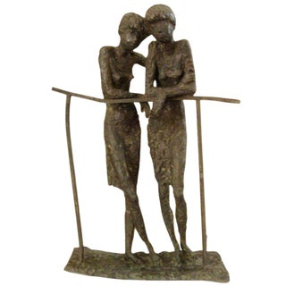 Bronze Sculpture of Two Ladies in the Manner of Alberto Giacometti For Sale