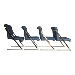 1970s Milo Baughman Style Z Chrome Cantilever Dining Chairs - Set of 4 For Sale