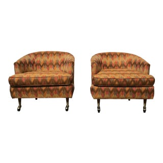 Vintage Flame Stitch Mid Century Modern Tub Chairs - a Pair
