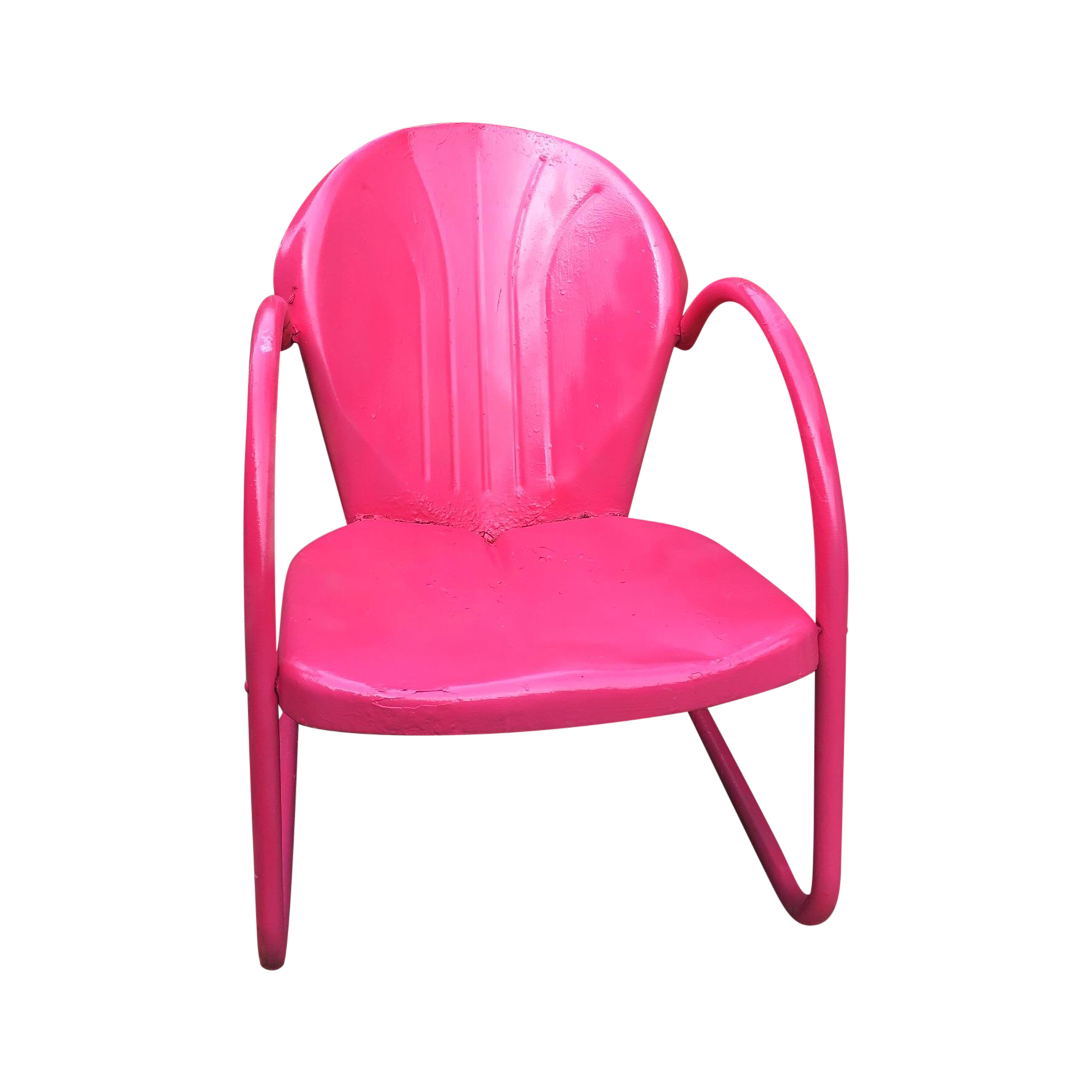 Mid Century Pink Metal Patio Chair