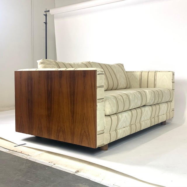 Milo Baughman Floating Milo Baughman Cased Rosewood Tuxedo Sofas / Settees-2 Available For Sale - Image 4 of 13