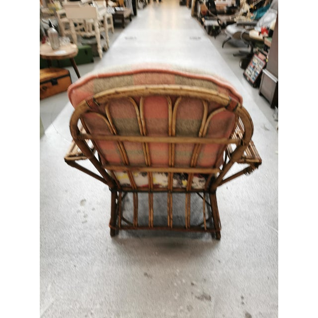 1940s Art Deco Reeded Rattan Lounge Chair and Ottoman For Sale - Image 5 of 13