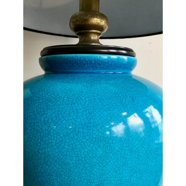 Asian Large Vintage Turquoise Table Lamp For Sale - Image 3 of 6