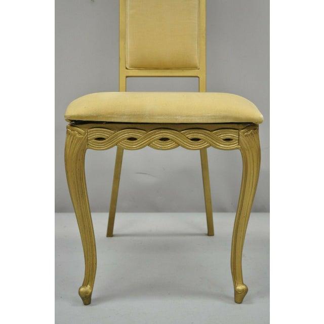 Kessler Industries Vintage Kessler French Hollywood Regency Style Cast Metal Tall Back Side Chair For Sale - Image 4 of 12