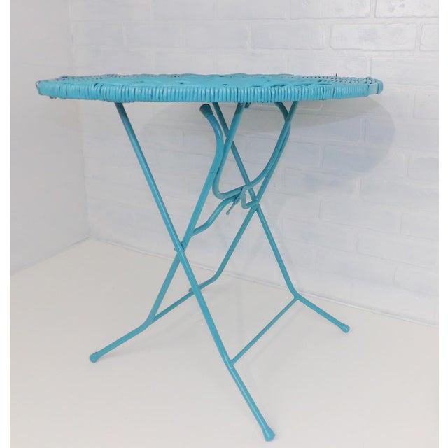 Vintage Teal Folding Wicker Tilt Top Table - Image 4 of 9