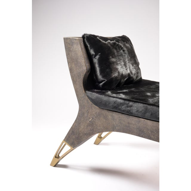 Art Deco Lord Bench in Black Shagreen and Bronze-Patina Brass by R&y Augousti For Sale - Image 3 of 8