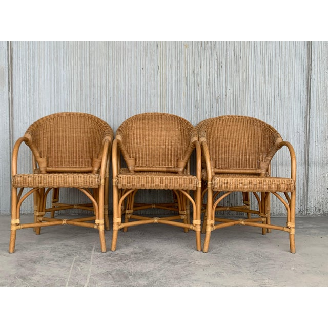 Midcentury Set of Six Bamboo and Rattan Dining Room Armchairs For Sale - Image 10 of 13
