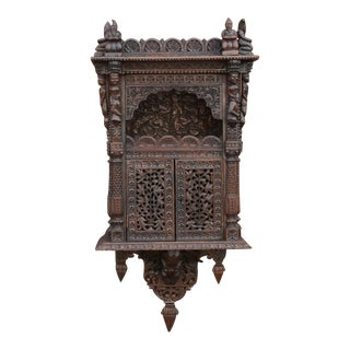 Rare Anglo Indian Carved Wall Cabinet For Sale