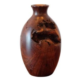 Vintage Hand Carved Burlwood Vessel For Sale