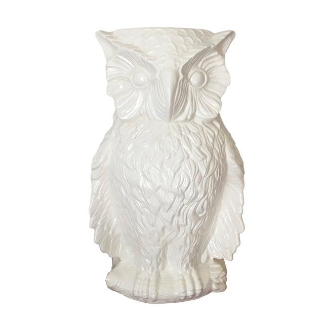 1975 Modern White Ceramic Owl Umbrella Stand Chairish