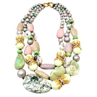 Alexis Bittar Contemporary Faux Pearl & Gemstone Multi Strand Necklace For Sale
