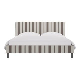 California King Tailored Platform Bed in Taupe Clarence Stripe For Sale