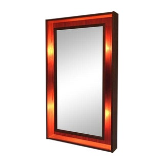 Pedersen & Hansen Danish Teak Lighted Mirror For Sale