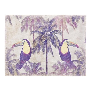 Hand Painted French Panel Tropical Toucan For Sale