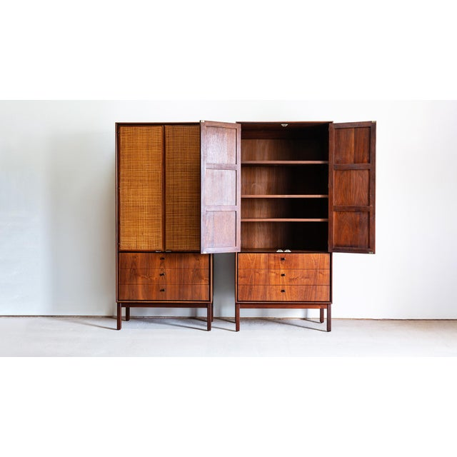 Mid-Century Modern 1960s Mid Century Modern Jack Cartwright for Founders Walnut Armoire Dressers - a Pair For Sale - Image 3 of 10