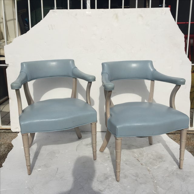 Faux Bamboo Captain's Chairs - A Pair - Image 10 of 10