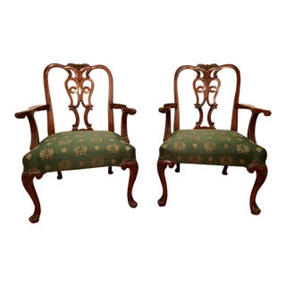 19th Century Antique Chippendale Style Armchairs - A Pair For Sale