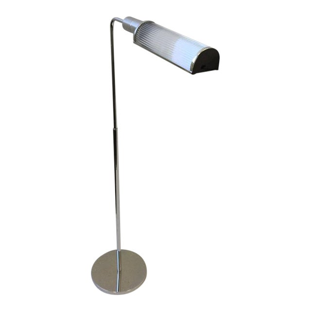 Chrome and Glass Adjustable Floor Lamps by Casella - A Pair - Image 1 of 9
