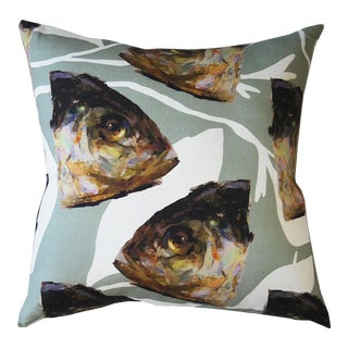 Cool Fish and Vine X Mia Bergeron Pillow Cover For Sale