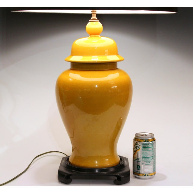 Vintage Large Japanese Crackle Glaze Yellow Zen Temple Jar Pottery Table Lamp For Sale - Image 4 of 13