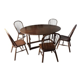 Oval Solid Wood Drop-Leaf Table & Windsor Chairs
