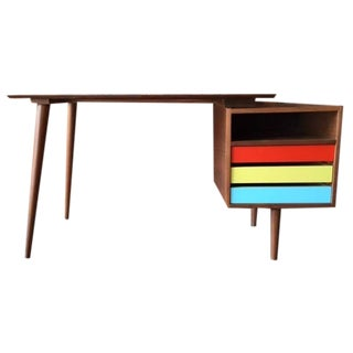 Mid-Century-Style Color Block Desk For Sale
