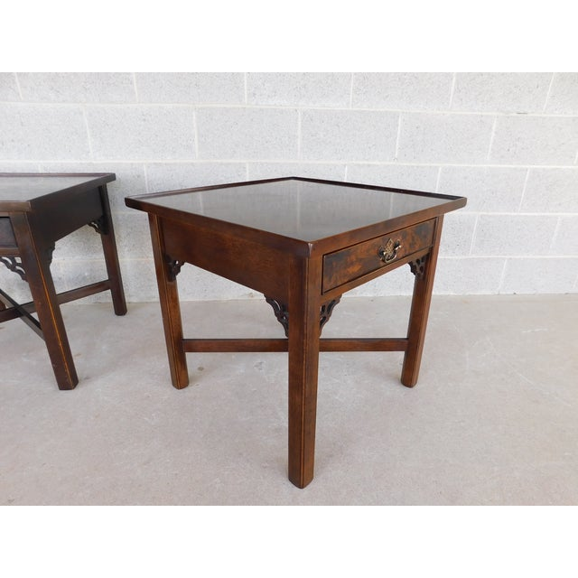 Knob Creek Chippendale Style Mahogany & Burl Walnut End Tables For Sale In Philadelphia - Image 6 of 11