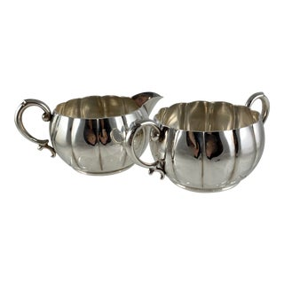 Georg Jensen/La Paglia Sterling Silver Cream & Sugar, 1940s For Sale