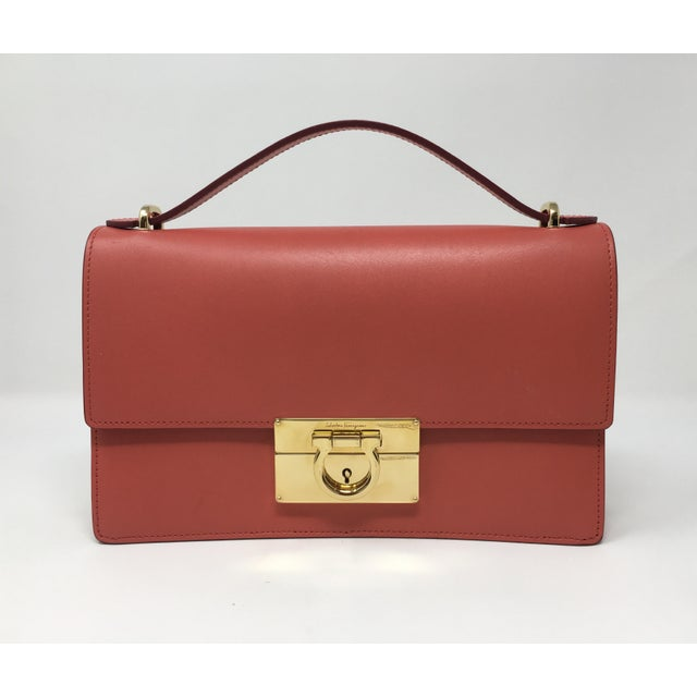 Beautiful Rouge Box Leather Salvatore Ferragamo Top Handle or Cross Body Bag For Sale - Image 12 of 12