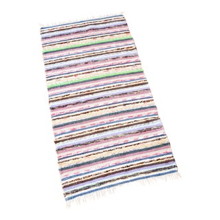Vintage Hand Loomed Swedish Style Rag Rug Runner - 2′5″ × 4′8″